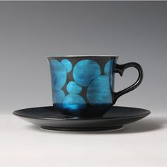 Tatsuro ONO (Japanese: 1949) -  Coffee Cup & Saucer with Polka Dot design with Blue Foil