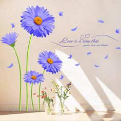 Beautiful Flowers Purple chrysanthemum Wall Stickers Home Decor For Backdrop Decal  Wall decor 60*90cm wallpaper Free Shipping