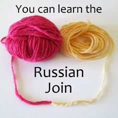Learn Crochet How To Attach Yarn Using the Russian Join - Loom Knitting, Knitting Stitches, Knitting Patterns, Crochet Patterns, Knitting Needles, Yarn Projects, Knitting Projects, Crochet Projects, Knitting Tutorials