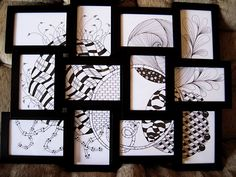 Black Frame Collage with Zentangles~cool idea!