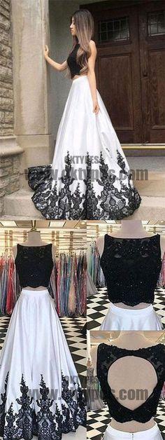 2018 Two Piece Lace Prom Dress White Cheap Long Prom Dress, Charming Prom Dresses, TYP0372 #promdresses