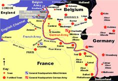 Map showing and illustrating alot of the Major battles that took place during World War 1.