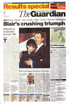General election results in Guardian front pages, 1945-2005