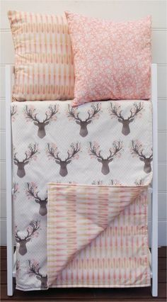 Cot quilt / blanket with deer head and pink gold arrows by Danoah