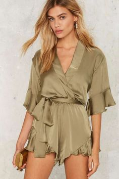 Mad World Satin Romper - Olive - Rompers + Jumpsuits Belts For Women, Clothes For Women, Floryday Dresses, Jumpsuit Dressy, Ruffle Romper, Cute Rompers, Fashion Lookbook, Jumpsuits For Women, Fashion Outfits