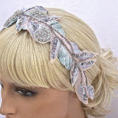Exquisite And Unique Vintage Inspired Bridal Headpiece In Platinum and Blush-$168.00 #weddings #agoddessdivine #bridalheadpiece #bridalheadband #blush #crystals #platinum #rhinestone