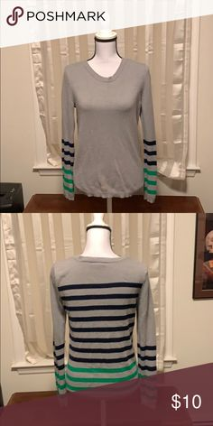 540a88b8d3 Fun striped sweater top Grey sweater top with a small bleach stain on the  bottom front