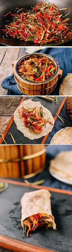 #Vegetable #Moo #Shu with #Mandarin #Pancake recipe by the Woks of Life