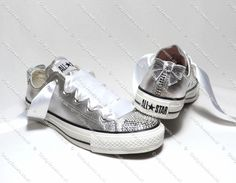 Adults Silver Leather Crystal Converse With Swarovski or Hi-Grade Glass Diamante Crystals