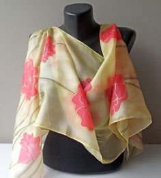 Handmade silk scarf Poppys in silk Art.309 by MarijanaSilk on Etsy