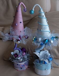 diy christmas gift idea pink blue rope art paper decoupage styrofoam conical form