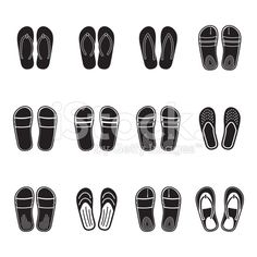 Flip flops or summer slippers icon set royalty-free stock vector art
