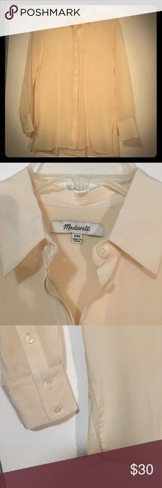 Ivory Silk Button-Down Shirt 100% silk Madewell button-down shirt. Slightly sheer. Lightly worn. Madewell Tops Button Down Shirts