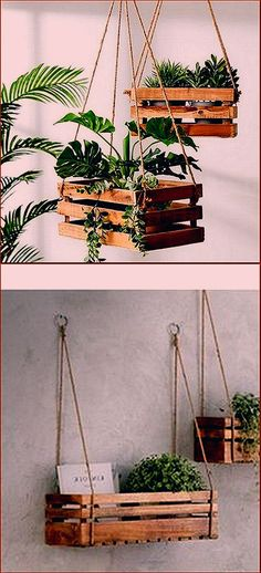 Plant holders are of different kinds, you can make hanging plant holders and you. - Plant holders are of different kinds, you can make hanging plant holders and you… - House Plants Decor, Plant Decor, Hanging Plants, Indoor Plants, Made Coffee Table, Decoration Plante, Wooden Pallets, Pallet Wood, Plant Holders