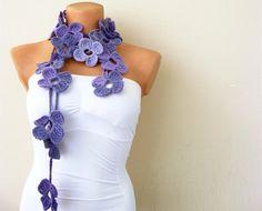 Hand Crochet Lavender Purple Flower Lariat Scarf by fairstore, $25.00