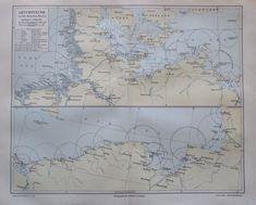 1897 Leuchtfeuer an den deutschen Küsten - alte Landkarte Karte Lithografie map