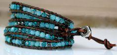 Wrap Bracelet  Gemstone Bracelet Aquamarine Swarovski by Desperer, $125.00