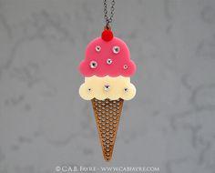Sparkle Ice Cream Cone Necklace -  Acrylic Laser Cut Necklace (C.A.B. Fayre Original Design)