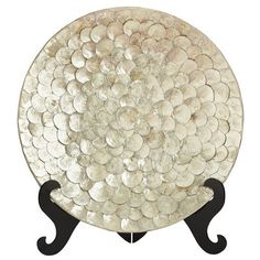 Capiz Shell Platter - this handcrafted exotic ivory platter showcases capiz shells at their best - it elegantly shimmers upon a classic stand as it becomes an instant conversation piece!