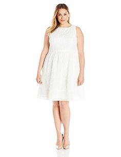 Nice Adrianna Papell Women's Plus Size Embroidered Soutache Fit and Flare W Grid Hem