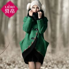 LIEBO designer winter autumn wool coat removable fur collar woollen coat fashion women wool blends free shipping Chinese style $106.90