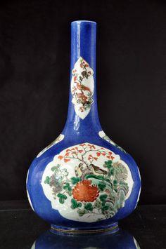 A Chinese Gilt Famille Verte Powder Blue Ground Porcelain Vase 18th Century   eBay