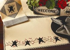 2 Star N Berries Primitive Cotton Placemats Home Decor Tabletop Accents   eBay