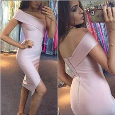 Find More Dresses Information about Free shipping  wholesale dropship Celebrity Pink Slash Neck Top Quality Knee Length Sexy Bandage Dress Cocktail Party Dress,High Quality dress family,China dress canvas Suppliers, Cheap dress xs from Ilonaandgrace'  store on Aliexpress.com