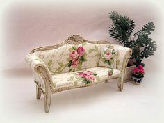 Dollhouse miniature Shabby Chic Sofa by MiniAbuela on Etsy