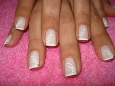 Unique Wedding Manicures 2014 Wedding Nails 2014 Sprinkle a bit of glitter or sparkly eyeshadow at the very tips of your nails and let it diffuse downward; Nude Nails, Nail Manicure, White Nails, My Nails, Nail Art 2014, Nails 2014, Pink Nail Art, New Nail Art, French Nails