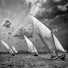 """Vela latina (VIII) (by Angel Villalba) """" This picture is sublime. Ocean Photography, Photo Black, Wooden Boats, Tall Ships, Black And White Pictures, Black And White Photography, Sailing Ships, Kayaking, Nautical"""