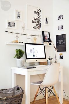 designmeetstyle:    Stylish way to work. A slim desk fits perfectly in a living room or bedroom - no separate office needed. Love the little ledge that stores extra office supplies.  http://ift.tt/1SMEBGa