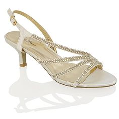 WOMENS DIAMANTE MID HEEL BRIDAL LADIES PROM PARTY EVENING WEDDING SANDALS SIZE: Amazon.co.uk: Shoes & Bags