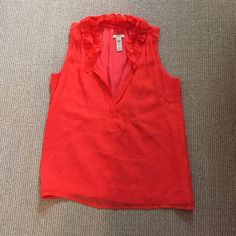 J. Crew sleeveless blouse with ruffle Sleeveless blouse with ruffled color in silk. Worn a few times and has been dry cleaned J. Crew Tops Blouses