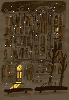winter night illustration by Alisa Yufa Source by nadjagirod ideas drawing Art And Illustration, Mountain Illustration, Bd Art, Winter Night, Winter Time, Winter Snow, Pretty Pictures, Art Inspo, Painting & Drawing
