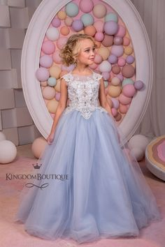 Silver Blue Tulle Flower Girl Dress Wedding Party Birthday