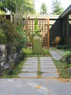 This is what I need to do next to B's patio area.  This will cut down on the visual from the path.