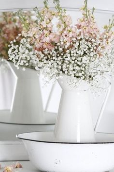 Ana Rosa -  Baby's Breath & Pink Larkspur, in white enamel ware