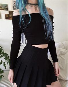 Choker with off-the-shoulder crop top & black skirt by aliencreature - #fashion #grunge #alternative