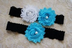 HOT SALE 2 pc Black/turquoise/white Wedding by RoseGardenBridal, $9.99
