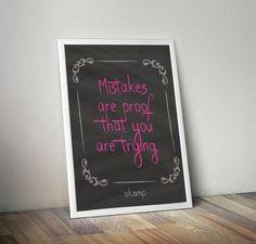 Poster Mistake - Pink - COM MOLDURA - stamp