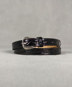 Ζώνη Λουστρίν Κροκό Μαύρη | Vaya Fashion Boutique