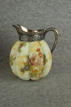 Mt. Washington Crown Milano Melon Ribbed Pitcher with Floral Decoration - 4 1/2 inch HOA