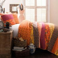 3-Piece Empire Quilt Set in Tangerine