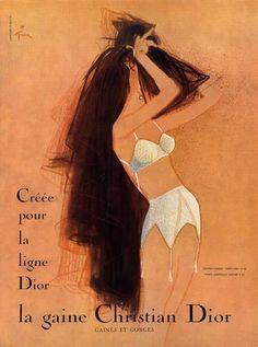 Christian Dior (Lingerie) 1958 René Gruau, Girdle, Bra Dior Fashion, 1930s e2c60a0cf755