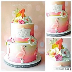 Flamingo Themed Cake by Olga Varitimidou of SWEETARTSTORIES