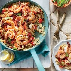 This perfect late-summer seafood supper comes together in under an hour. You'll want to sprinkle the cheesy, buttery, lemony breadcrumbs on just about everything—and we don't blame you.