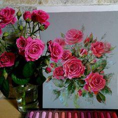 Pink and red #softpastel Jackson's, Canson touch #pastelpainting #pasteldrawing #cansonpaper #topcreator #pinkrose #pinkcolor #pinkandred #roseoftheday #flowersart #fleurs #roselover #flowerspainting #floweroftheday #flowerstagram #instaflower #roses #pastelart #myartwork #jacksonsart #ярисую #я_автор_работы #роза #цветыдня #colours #floral #painting