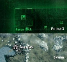 Both of these locations appear in Fallout 3 and Skyrim, but Raven Rock was a prison camp in nazi Germany during the war.