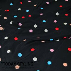 Colorful Dots Print Black Silk Crepe de Chine Fabric Fabrics Cloth for Sewing Width 55 inch Printed Silk Fabric, Silk Chiffon Fabric, Georgette Fabric, Silk Charmeuse, Silk Crepe, Cotton Fabric, Red Silk, Black Silk, Sewing Patterns Free